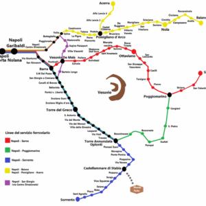 Orari Circumvesuviana, mappa che indica tutte le linee.
