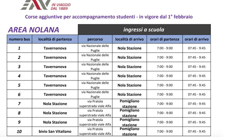 Corse aggiuntive Bus area Nolana