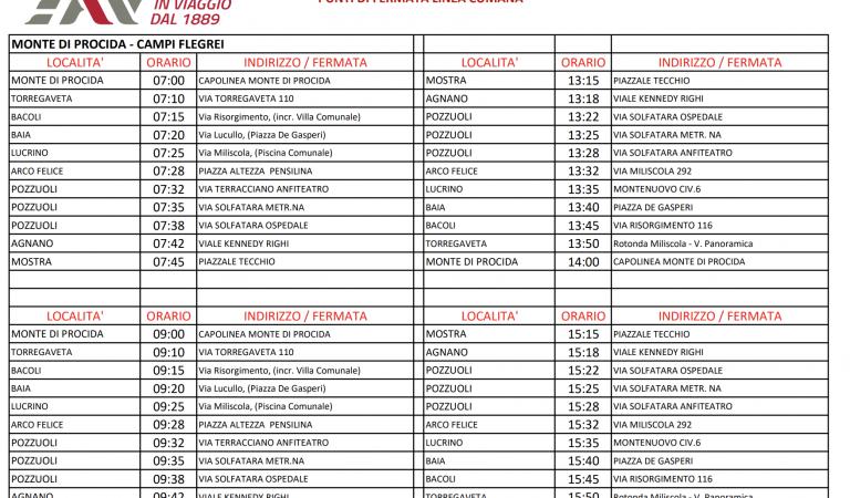 Percorsi ed Orari per le corse EAV Bus aggiuntive